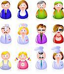 12 people icons: clerks, laborers, doctors, glamorous couple, children, and cooks! EPS 8, AI Stock Photo - Royalty-Free, Artist: jara3000, Code: 400-04128191