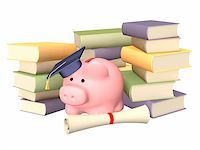 education loan - Piggy bank with cap and books. Objects over white Stock Photo - Royalty-Freenull, Code: 400-04128513