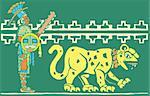 Mayan warrior in full regalia with Jaguar.