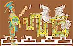 Mayan warrior in full regalia and Kulkulcan