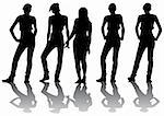 Vector drawing shapely girls. Silhouettes on a white background