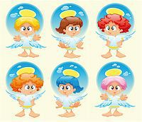 Family of angels with background. Funny vector and cartoon characters Stock Photo - Royalty-Freenull, Code: 400-04131114