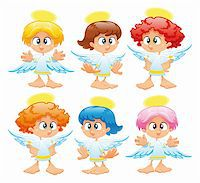 Family of angels. Funny vector and cartoon characters Stock Photo - Royalty-Freenull, Code: 400-04131115