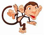 Funny monkeys. Cartoon and vector character Stock Photo - Royalty-Free, Artist: ddraw                         , Code: 400-04131129