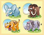 prehistoric animals with background, cartoon and vector characters Stock Photo - Royalty-Free, Artist: ddraw                         , Code: 400-04132410