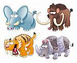 prehistoric animals, cartoon and vector characters Stock Photo - Royalty-Free, Artist: ddraw                         , Code: 400-04132411