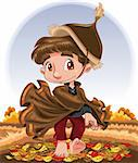 Autumn Character, cartoon and vector character Stock Photo - Royalty-Free, Artist: ddraw                         , Code: 400-04132418