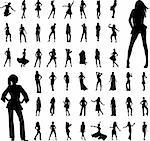 50 high quality women silhouette -vector