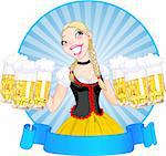Vector illustration of funny German girl serving beer Stock Photo - Royalty-Free, Artist: Dazdraperma                   , Code: 400-04132722