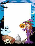 Halloween frame 2 with various objects - color illustration. Stock Photo - Royalty-Free, Artist: clairev                       , Code: 400-04133139