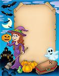 Halloween parchment 4 with various objects - color illustration. Stock Photo - Royalty-Free, Artist: clairev                       , Code: 400-04133140