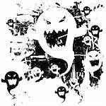 Scary ghost background. Distressed, grunge look. Ghost can also be used as a separate icon. Stock Photo - Royalty-Free, Artist: lhfgraphics                   , Code: 400-04135157