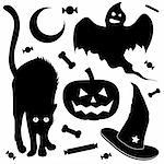 Halloween design elements silhouette set. Includes black cat, jack o lantern pumpkin, ghost, and witch's hat. Stock Photo - Royalty-Free, Artist: lhfgraphics                   , Code: 400-04135159