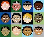 12 Boys Faces 2 with colorful background or plain and with men, women, children and girls. Stock Photo - Royalty-Free, Artist: BasheeraDesigns               , Code: 400-04135336