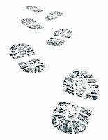 detailed black and white bootprint - vector illustration Stock Photo - Royalty-Freenull, Code: 400-04136614