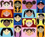14 Girls Faces 2. Also with colorful background or plain and with men, women, children and boys. Stock Photo - Royalty-Free, Artist: BasheeraDesigns               , Code: 400-04136757