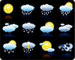Set of icons on a theme Weather_black background Stock Photo - Royalty-Free, Artist: Filata                        , Code: 400-04137442