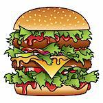 Detailed illustration of a tasty burger that has got it all. Stock Photo - Royalty-Free, Artist: ThomasAmby                    , Code: 400-04137512