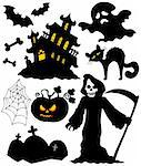 Set of Halloween silhouettes - vector illustration. Stock Photo - Royalty-Free, Artist: clairev                       , Code: 400-04138946