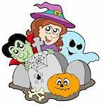 Cemetery with Halloween characters - vector illustration. Stock Photo - Royalty-Free, Artist: clairev                       , Code: 400-04139814