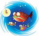 Cartoon of three fish looking at bait Stock Photo - Royalty-Free, Artist: V_g                           , Code: 400-04139878