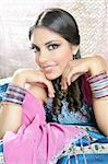 Beautiful indian brunette young woman with traditional fashion Stock Photo - Royalty-Free, Artist: lunamarina                    , Code: 400-04140661