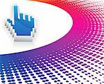 3d vector hand mouse symbol with rainbow color halftone background   Stock Photo - Royalty-Free, Artist: roochak_red                   , Code: 400-04141938