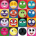 Group of expression with background. Funny vector and cartoon elements. Stock Photo - Royalty-Free, Artist: ddraw, Code: 400-04145410