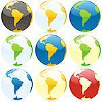 vector editable colored globes Stock Photo - Royalty-Free, Artist: pilgrimartworks, Code: 400-04145598