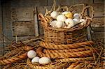Basket of eggs on straw in the chicken coop Stock Photo - Royalty-Free, Artist: Sandralise, Code: 400-04145786