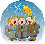 The children sing a Christmas song on a winter background. EPS 8, AI, JPEG Stock Photo - Royalty-Free, Artist: jara3000, Code: 400-04146645
