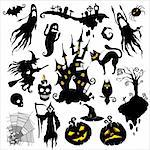 set of vector illustrations. halloween scary theme