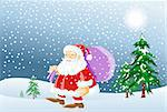 An image of Santa Claus carrying a bag full of presents, and walking in the snow Stock Photo - Royalty-Free, Artist: mayawizard101, Code: 400-04148625