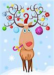 vector illustration of a christmas deer Stock Photo - Royalty-Free, Artist: nem4a, Code: 400-04149608