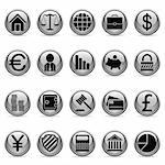 Set of 20 business and finance buttons. Stock Photo - Royalty-Free, Artist: timurock, Code: 400-04149714