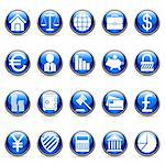 Set of 20 business and finance buttons. Stock Photo - Royalty-Free, Artist: timurock, Code: 400-04150095