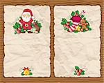 Christmas paper backgrounds with Christmas symbols: Santa Claus, holly, bag full of presents, bell, gingerbread cookie, Christmas stocking, star. With space for your text, on wooden texture. Stock Photo - Royalty-Free, Artist: dianka, Code: 400-04153323