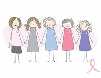 Breast Cancer Awareness - Women holding hands in support of breast cancer Stock Photo - Royalty-Free, Artist: slirette, Code: 400-04155623
