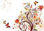 Grunge flower background with butterfly, element for design, vector illustration Stock Photo - Royalty-Free, Artist: TAlex, Code: 400-04156896
