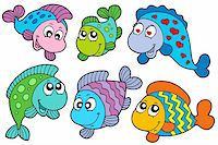 Crazy fishes collection - vector illustration. Stock Photo - Royalty-Freenull, Code: 400-04157385