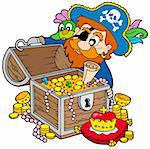 Pirate opening treasure chest - vector illustration. Stock Photo - Royalty-Free, Artist: clairev, Code: 400-04157807