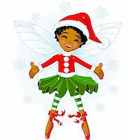 Cute Christmas fairy flying in the snowing sky Stock Photo - Royalty-Freenull, Code: 400-04157942