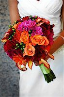 Image of a bride holding colorful bouquet Stock Photo - Royalty-Freenull, Code: 400-04161971
