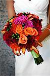 Image of a bride holding colorful bouquet Stock Photo - Royalty-Free, Artist: gregory21, Code: 400-04161971
