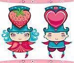 Cute vector characters - Sweet Valentine couple: boy and girl wearing top hats with big hearts.