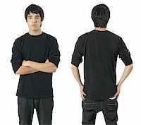 Young asian male with blank long sleeve black shirt, front and back. Ready for your design or logo. Stock Photo - Royalty-Freenull, Code: 400-04162311