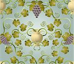 Beautiful vine leaf and urn seamless tile. Designed to look at its best when tiled.  Stock Photo - Royalty-Free, Artist: Krisdog, Code: 400-04163029