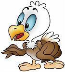 Little Bald Eagle - colored cartoon illustration + vector