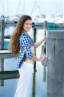 Teenage Girl at Marina Stock Photo - Premium Rights-Managednull, Code: 700-04163452