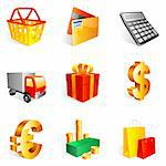 Set of 9 colorful shopping icons.